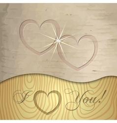 Saint Valentines wooden background vector image vector image