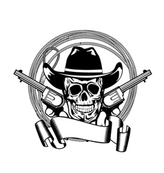 cowboy and two pistols vector image vector image
