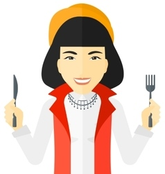 Hungry woman waiting for food vector image vector image