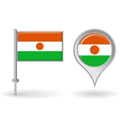 Niger pin icon and map pointer flag vector image