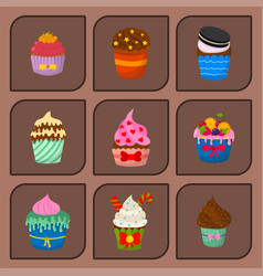 set of cute cupcakes and muffins chocolate vector image