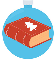 closed red book on blue christmas vector image