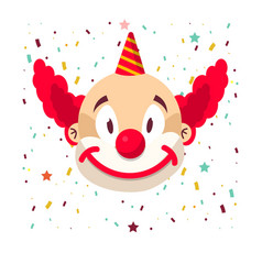 clown face smile in wig and birthday cap vector image