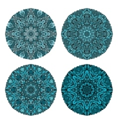 set of four turquoise circular ornaments vector image