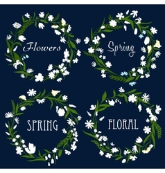 Set of pretty spring floral wreaths vector image