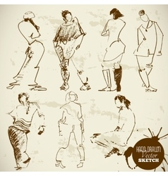 Vintage Abstract Hand Drawn People Sketch vector image