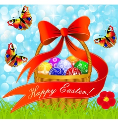 postcard with Easter eggs in the basket vector image vector image