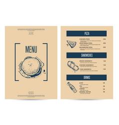 restaurant fast food menu in retro style vector image