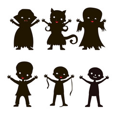set of children silhouette in halloween costume vector image