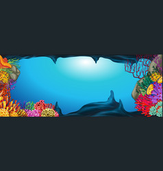 Underwater scene with coral reef vector