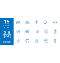 15 stereo icons vector