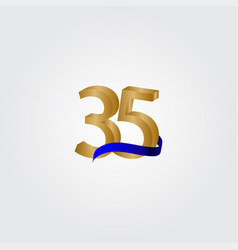 35 years anniversary celebration number gold vector
