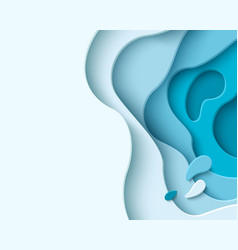 abstract blue paper cut background with liquid vector image