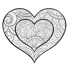 Adult Coloring Book Pages Heart Vector Images Over 640