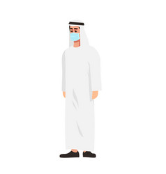 Arab man in surgical mask semi flat rgb color vector