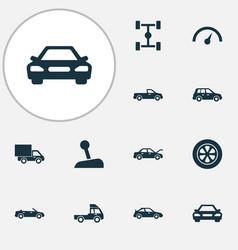 Auto icons set collection of wheelbase van vector
