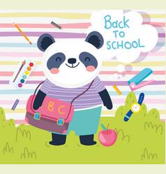 back to school cute panda with bag apple clock vector image