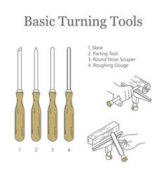 Basic turner tools types vector