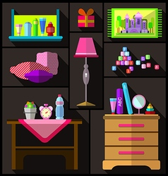 Bedroom for girls A set of furniture and objects vector