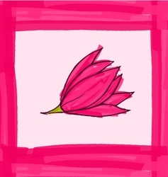 Big pink flower with pink border vector image