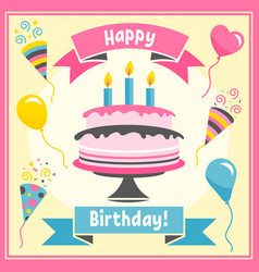 birthday card with colorful cake and balloons vector image