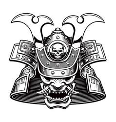 Black and white a samurai mask vector