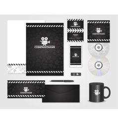 Black corporate identity template for producer vector image