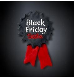 Black Friday lettering and plasticine medal banner vector
