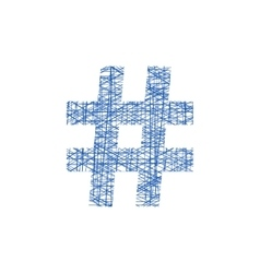 Blue hashtag icon in sketch style vector