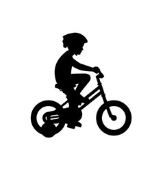 Boy riding bike vector