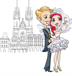 Bride and groom make selfie in Prague vector