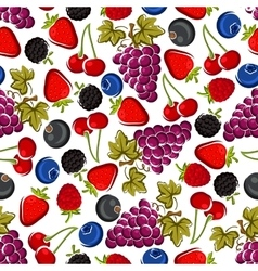 Bright juicy fruits and berries seamless pattern vector image