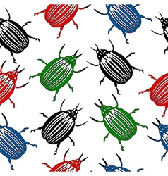 Bug seamless pattern vector image