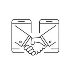 Business handshake via phones vector