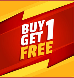Buy one get one free red and yellow sale vector