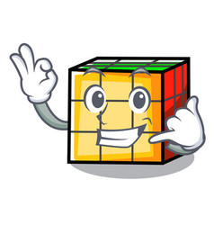 Call me rubik cube mascot cartoon vector