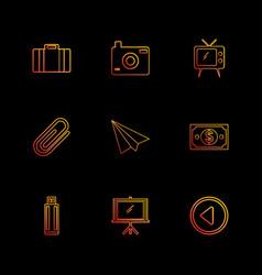 Camera click images tv paper pin paper plane vector