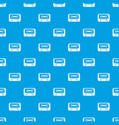 cassete tape pattern seamless blue vector image