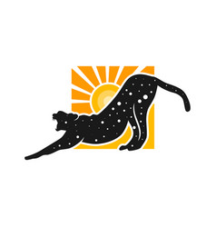 Cheetah animal logo with sun vector