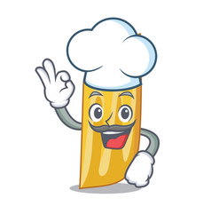Chef penne pasta character cartoon vector