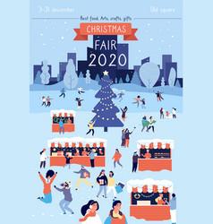 christmas fair poster xmas traditional bazaar vector image