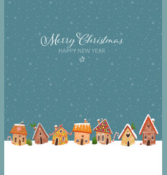 christmas greeting card with cute gingerbread vector image