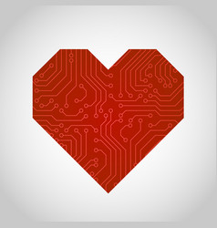circuit board or microchip heart vector image