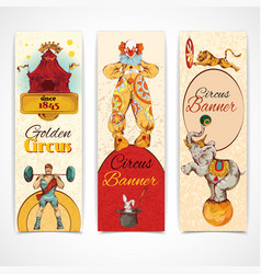 Circus vintage banners set vector