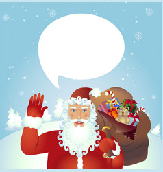 classic santa claus cartoon waving her hand vector image