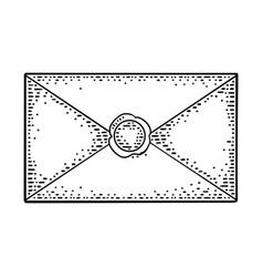 close kraft paper envelope with sealing wax vector image