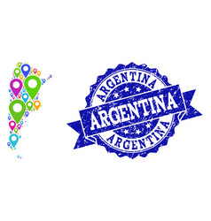 Collage map of argentina with map pins and vector