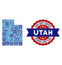 Collage utah state map of service tools vector