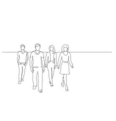 Continuous one line drawing walking group of vector