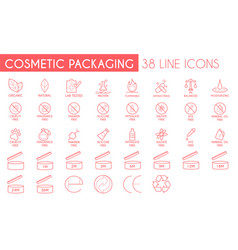 cosmetic packaging line icon pack vector image